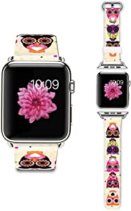 LAACO Band Compatible for Apple Watch 38mm 40mm, Floral Leather Replacement Strap for iWatch 38mm Series 5/4/3/2/1, Sports & Edition Cute Cartoon owl