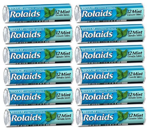 Rolaids Mint Flavor Heartburn Acid Indigestion Fast Acting Rapid Relief - 12 Rolls of 12 Antacid Chewable Tablets (144 Tablets Total) by Rolaids