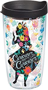 Tervis 1269202 Disney - Alice In Wonderland Curiouser Insulated Tumbler with Wrap and Black Lid, 16oz, Clear