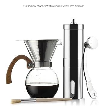 ZGBZZ Máquina de café al aire libre, máquina de café portátil de mano de acero inoxidable, amoladora de mano, amoladora de café, fresadora manual: ...