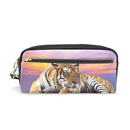 Eslifey Tiger Sunset - Estuche portátil de piel sintética ...