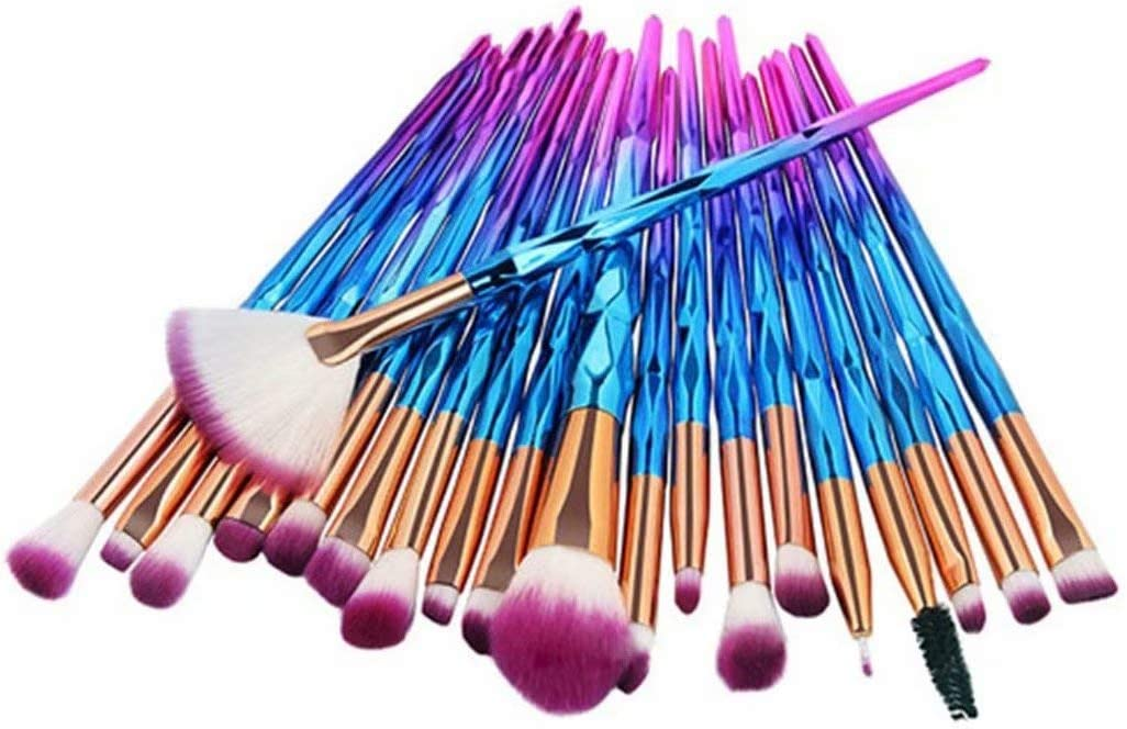 20pcs Pinceles de maquillaje Set Eye Shadow Foundation Powder Eyeliner Eyelash Lip Make Up Pincel de maquillaje Kit de herramientas de belleza cosmética (Azul púrpura)