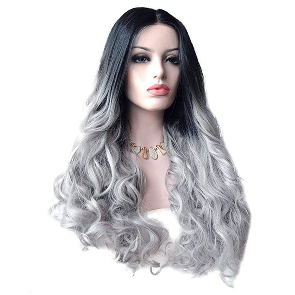 Amazon.com : Iuhan Women's Ombre Wig - Sexy Women Long Hair Black Gradient  Big Wave Long Curly Wigs Rose Net High Temperature Synthetic COSPLAY  Photography ...