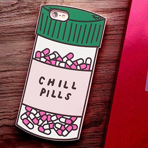 iPhone 6 Plus Case, iphone 6S plus Case, Crazy Panda® New Cute 3D Chill Pills Soft Silicone Phone Case for iPhone 6 plus/6S plus