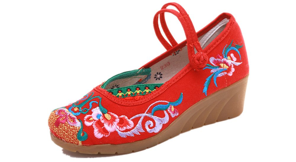 Tianrui Crown Women and Ladies The Embroidered Sandals Cheongsam Platform Wedge Shoes B07BKSQM2C 5 B(M) US Red