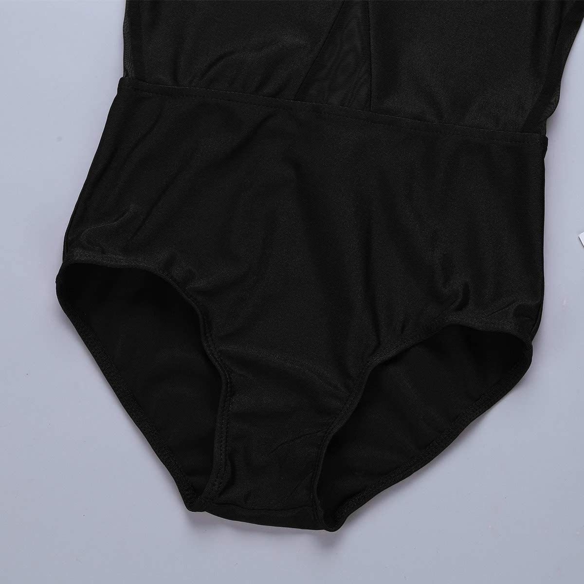 JEATHA Kids Girls Sleeveless Mesh Splice Ballet Dance Bodysuit Keyhole Cutout Back Gym Sports Workout Leotard