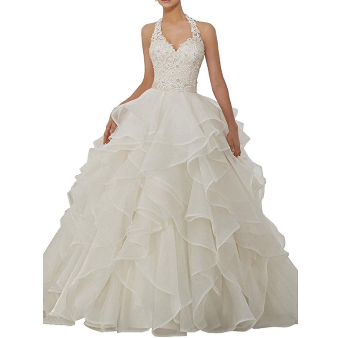 Chady Gorgeous V Neck Organza Ruffles Princess Ball Gown Wedding