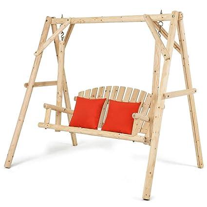 Amazon.com : TANGKULA Wooden Porch Swing Outdoor Patio Rustic ...
