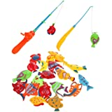 Rely2016 20Pcs Fish and 2pcs Fishing Rod Parent-Child Interation Magnetic Magnet Fishing Playset Kid Children Eearly Educational Toy