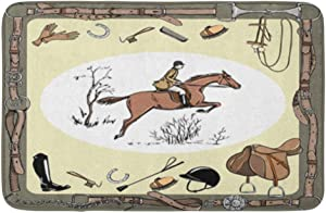 """Adowyee Bath Mat Equestrian Sport with Horse Rider England Steeplechase Style Derby in Leather Belt Cozy Bathroom Decor Bath Rug with Non Slip Backing 20"""" X 30"""""""