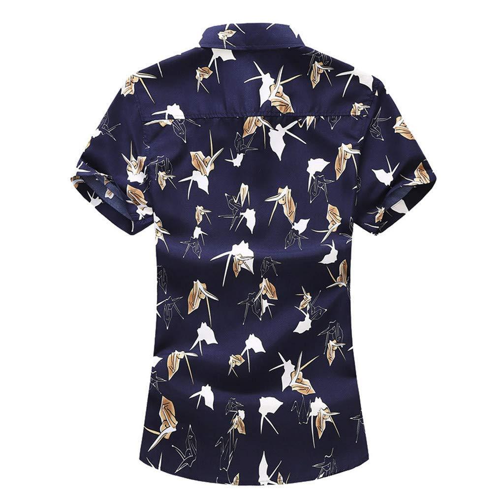 iCJJL Paper Crane Pattern Button Down Shirt for Men Short Sleeve Printed Casual Summer Hawaiian Aloha Shirt Beach Tops