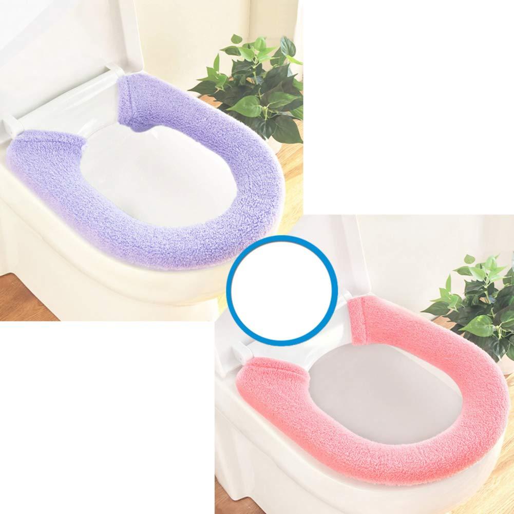 Confezione da 2 Pezzi Universal Juego De Tapa De Inodoro Stretchable Lavabile Panno Almohadillas para El Asiento del Inodoro Domestico Tipo di Pulsante Addensare Calore Alfombrilla De Inodoro-a