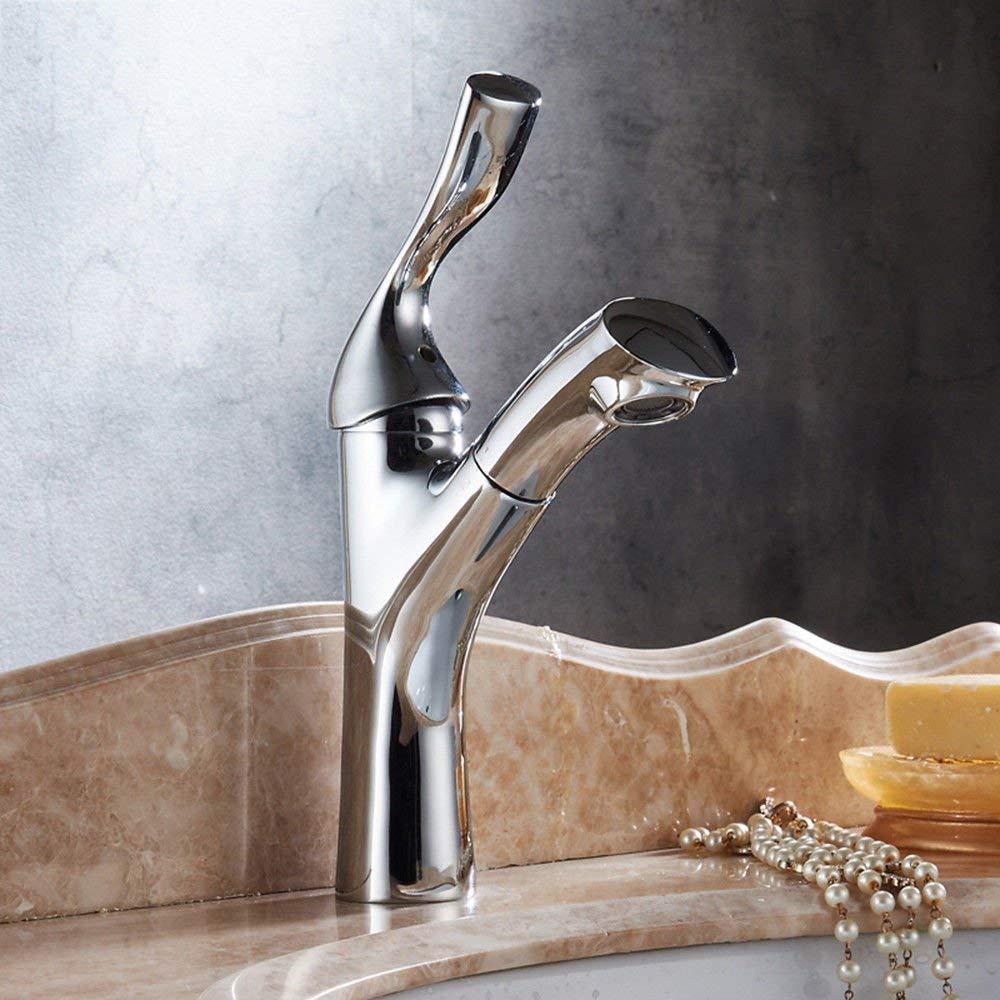 JingJingnet シンクミキサータップ浴室の台所の洗面器の水道水漏れ防止保存水道の銅の缶プルダウン格納式ホット&コールド盆地シングルホールクローム (Color : C) B07S4LL2QG C