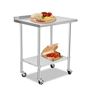 Aplancee Stainless Steel Table 30 x 24 Inches with Caster Backsplash and Adjustable Undershelf Metal Utility Prep & Work Workstations for Kitchen or Restaurant Supplies
