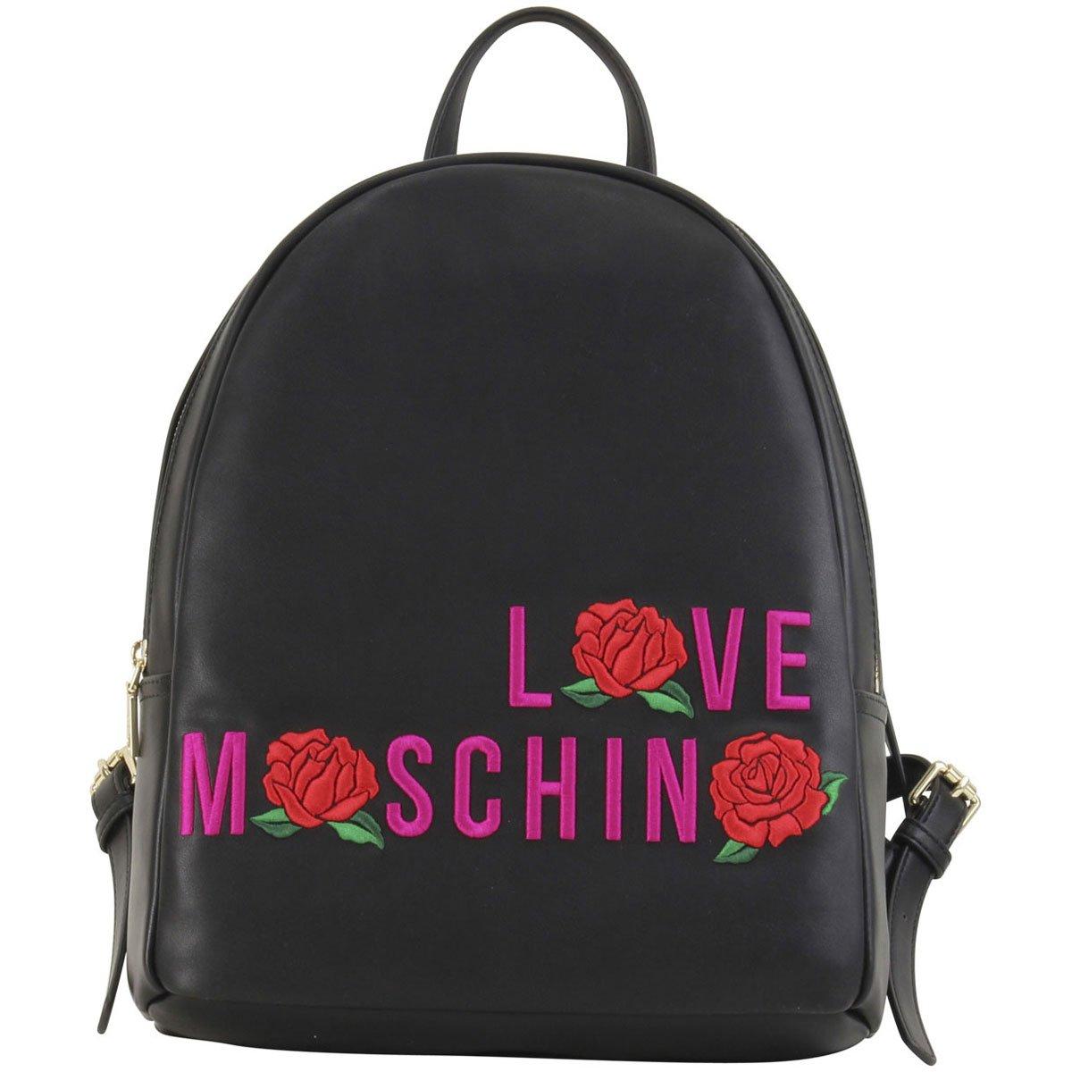 LOVE Moschino Women's Logo Rose Backpack Black Backpack