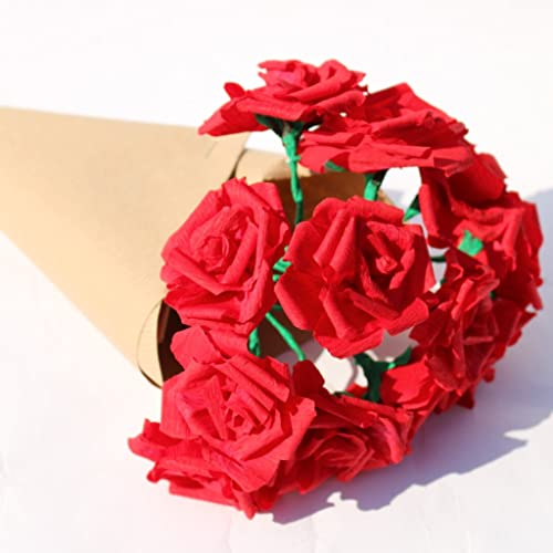 Red paper flower uk yelomdiffusion red rose bouquet 12 paper flowers amazon co uk handmade mightylinksfo