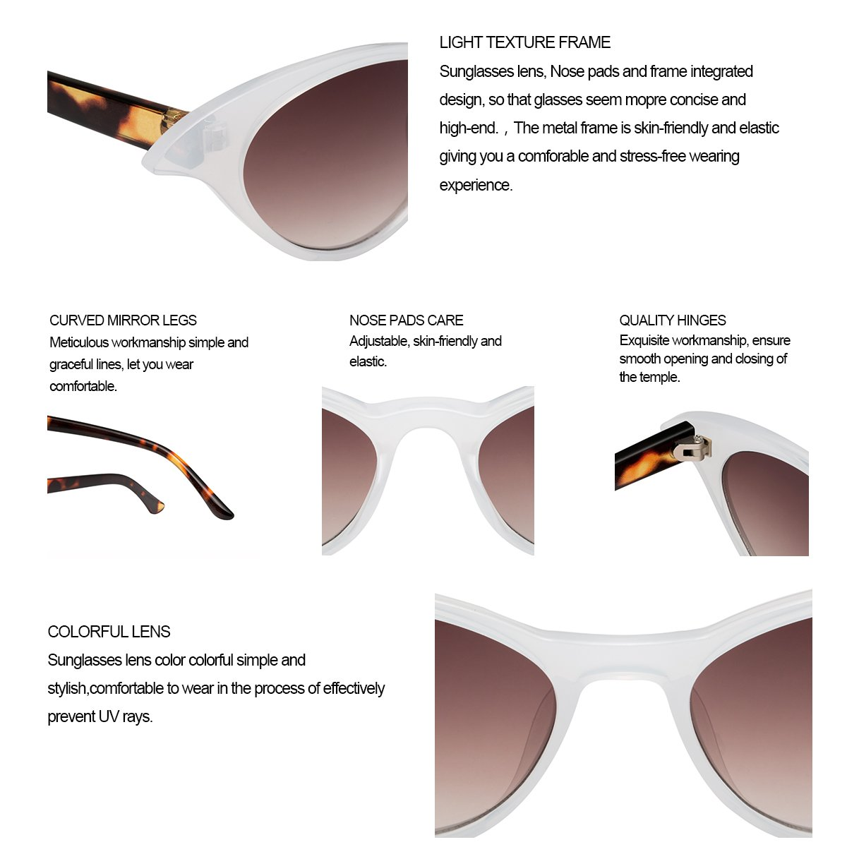 Sunglasses for Women RAYSUN Vintage Retro Tinted Lens Cat Eye Sunglasses Clout Goggles Mental Frame