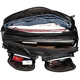Tiding Men\'s Genuine Leather Black Backpack Multi-purpose Waterproof Trip Briefcase Handbag 3013bk