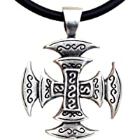 OhDeal4U Celtic Viking Square Cross Pagan Silver Pewter Pendant Charm Amulet w Necklace