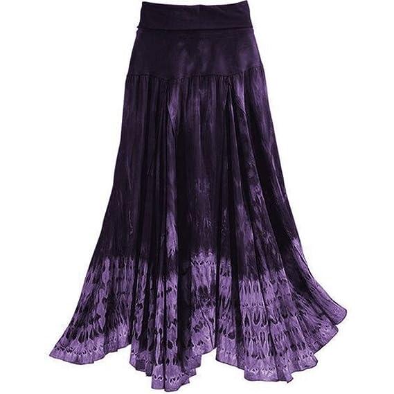 Yying Falda Larga Mujer Talla Grande Boho Cintura Alta Elegantes ...