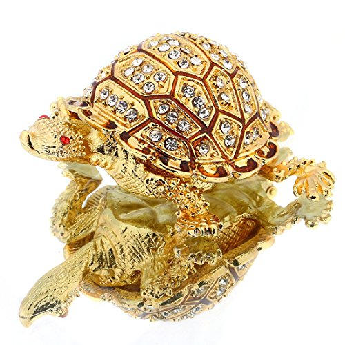 YUFENG Turtle Hinged Trinket Box Handmade Golden Tortoise Bejeweled Box Collectible (Gold)
