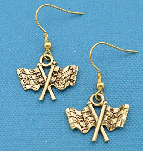 (Checkered flag earrings in gold pewter. Checkered flag earrings. Nascar gifts. Car Racing Jewelry. Checkered flag charms. Nascar.)
