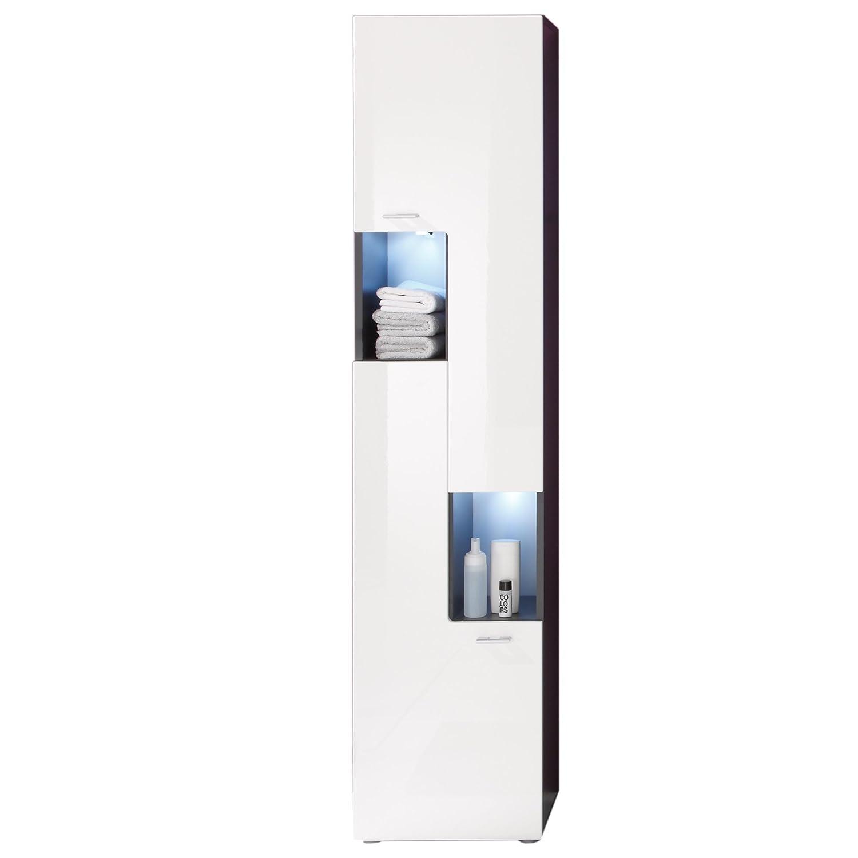 Furnline Tetis High Gloss Graphite Bathroom Furniture Tall Cabinet, White 1330-101-03