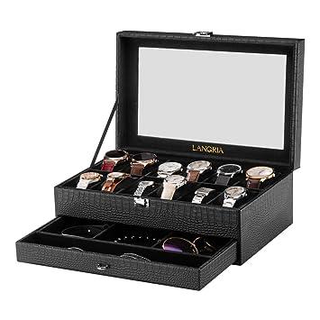 LANGRIA Caja para Relojes en Piel Sintética de 12 Compartimentos con Cojines Extraíbles Bandeja Inferior para Accesorios Interior Aterciopelado Tapa de ...