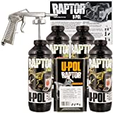 U-Pol Raptor Black Urethane Spray-On Truck Bed Liner Kit w/Free Spray Gun, 4 Liters