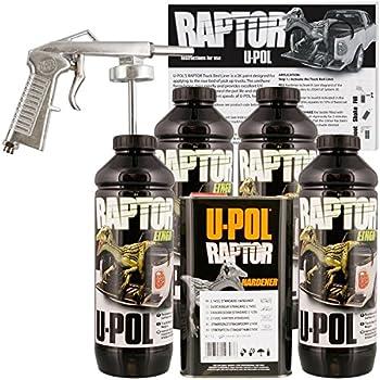 U-POL Raptor Black Urethane Spray-On Truck Bed Liner Kit w/ FREE Spray Gun, 4 Liters