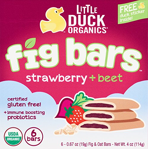Little Duck Organics Fig Bars, Fig + Strawberry + Beet, 8 Count, 4 Oz