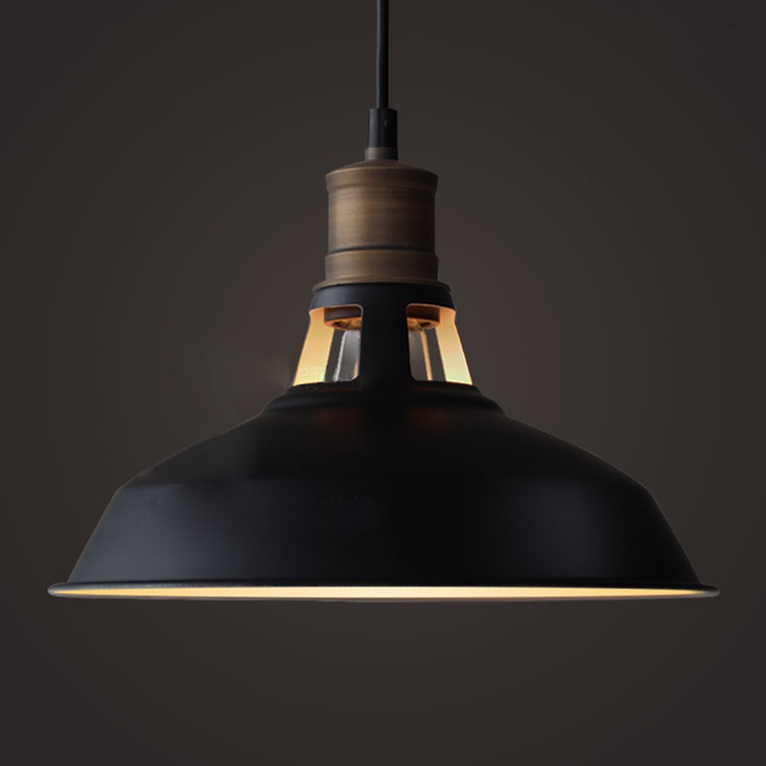 YOBO Lighting Antique Industrial Barn Hanging Pendant Light with Metal Dome Shade Matte Black - - Amazon.com & YOBO Lighting Antique Industrial Barn Hanging Pendant Light with ... azcodes.com