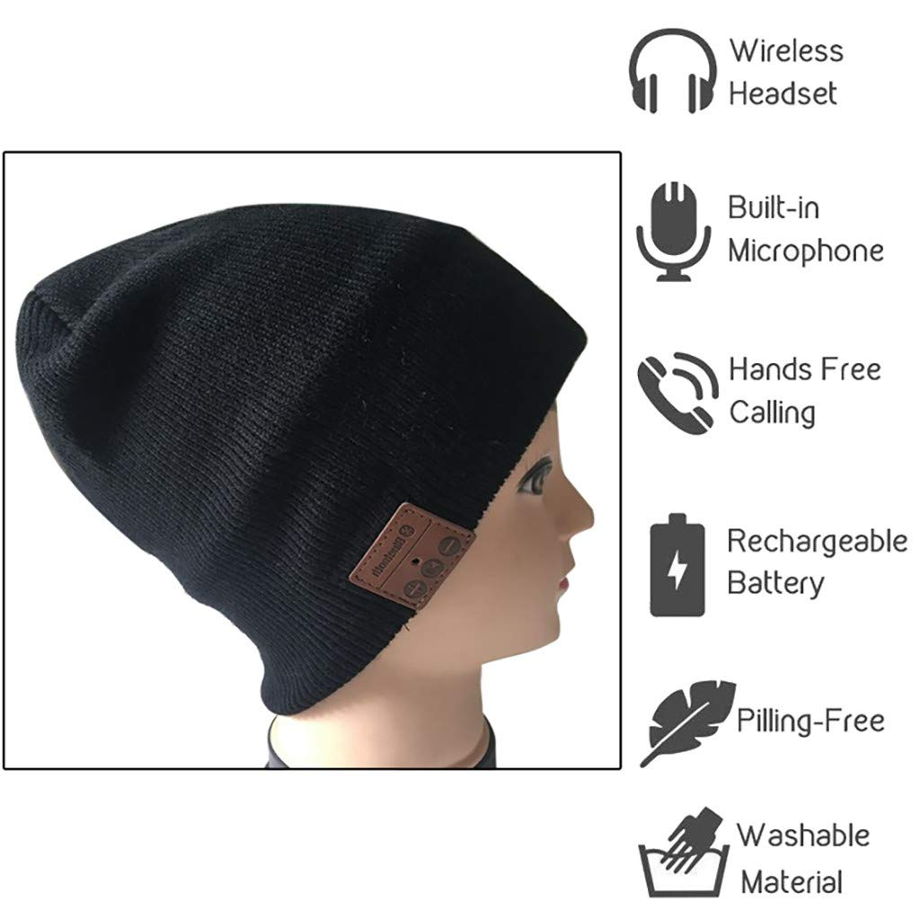 Wireless Headphone Beanie Black Bluetooth Beanie Beanie Hat Built-in HD Stereo Speakers /& Microphone for Winter Fitness Outdoor Sports