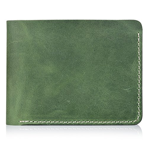 Secret Felicity Men's Leather Bifold Wallet,Entirely Handmade,Best Gift for Father's Day (SF1001) (Green) -