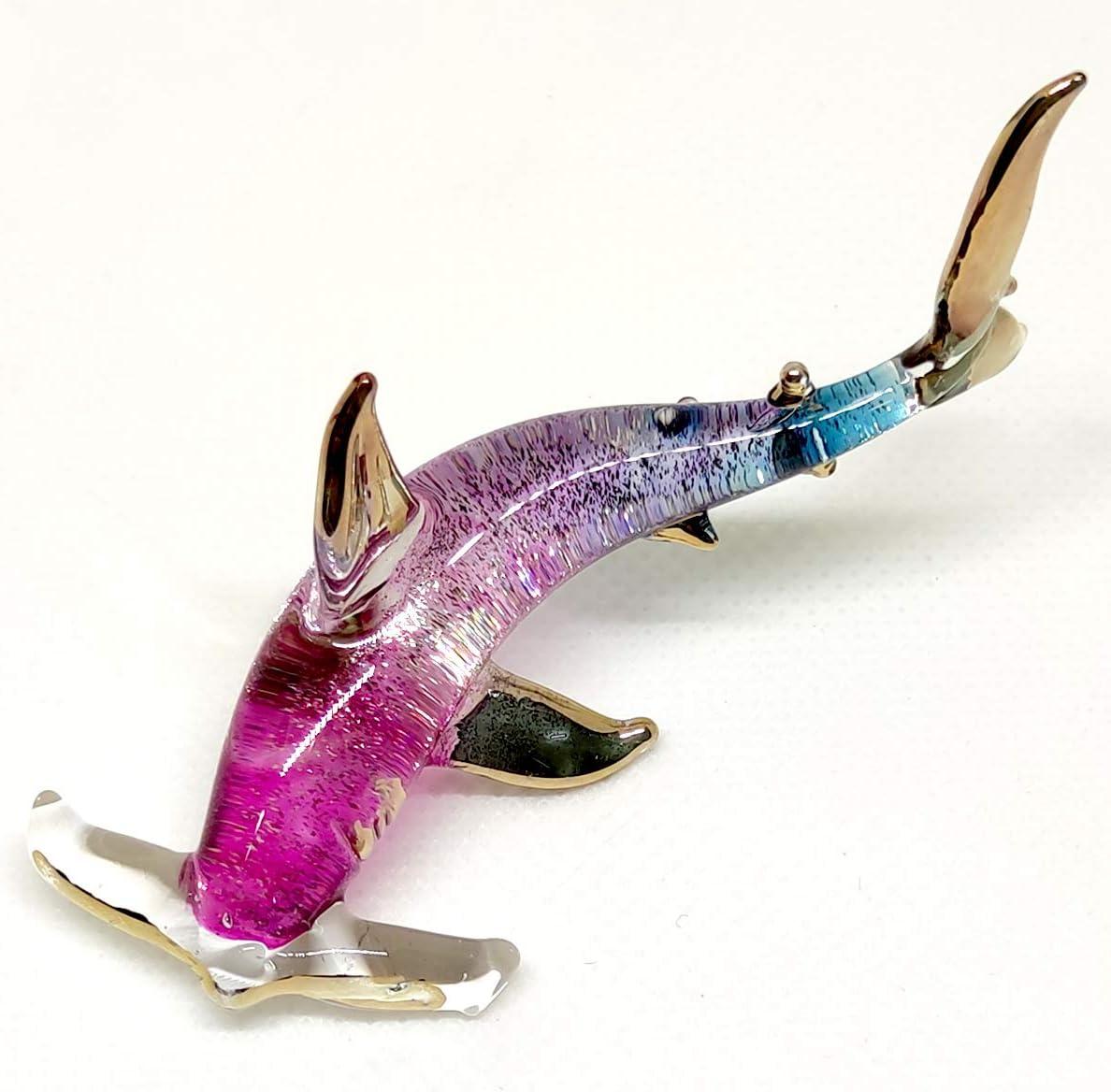 sansukjai Hammer Shark Miniature Figurines Sea Animals Hand Painted Blown Glass Art Gold Trim Collectible Gift Decorate, Red Blue Glitter