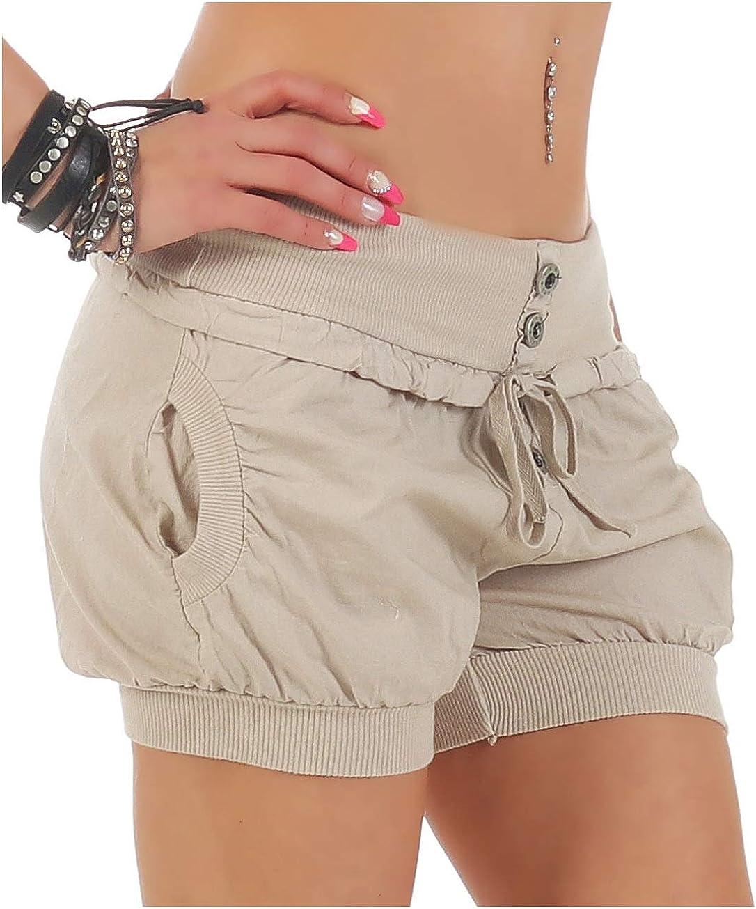 Pants lockere Kurze Hose Shorts klassisch 6086 Bermuda f/ür den Strand Malito Damen Hotpants in Unifarben