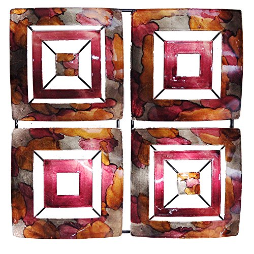 Heather Ann Creations 4 Abstract Geometric Square Panel Modern Metal Hanging Wall Sculpture, 16.2