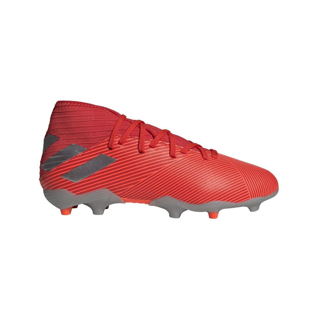 adidas Unisex Nemeziz 19.3 Firm Ground Soccer Shoe, Active Silver Metallic/Solar Red, 4 M US Big Kid