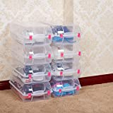 Lucky Tree 8 PCS Shoes Box Clear Plastic Storage Shoes Case Holder With Locker (red)
