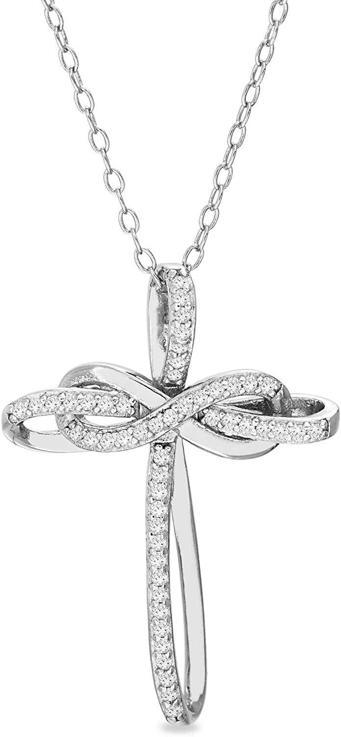 Devin Rose Sterling Silver 1/4 Cttw Diamond Intertwined Cross Necklace for Women (Various Colors)