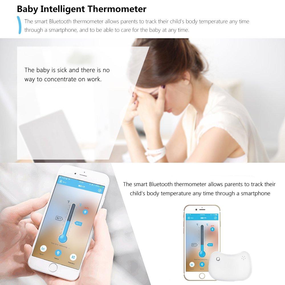 ABEDOE Bluetooth Intelligent Baby Thermometer Monitoring Indossabile 24 ore Baby Intelligent Fever Monitor White Termometro per bambini