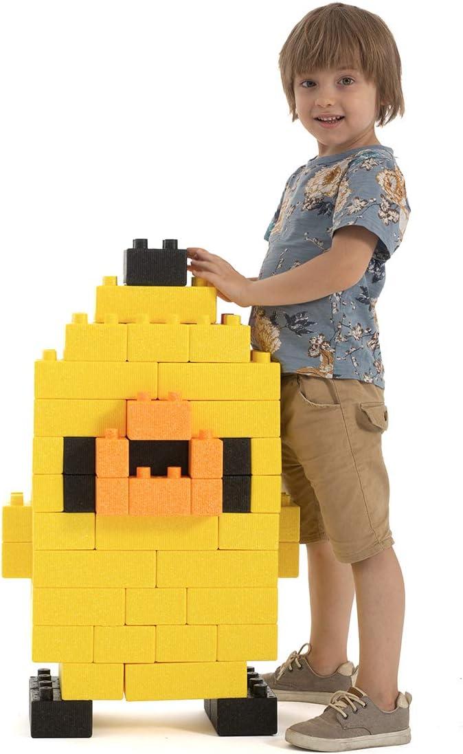 Husiun Jumbo Building Blocks Foam Constructive Bricks Chick Hund Tortoise Figures Building Kit Extra Lightweight für Kids Todders Preshooler (82 Pieces)