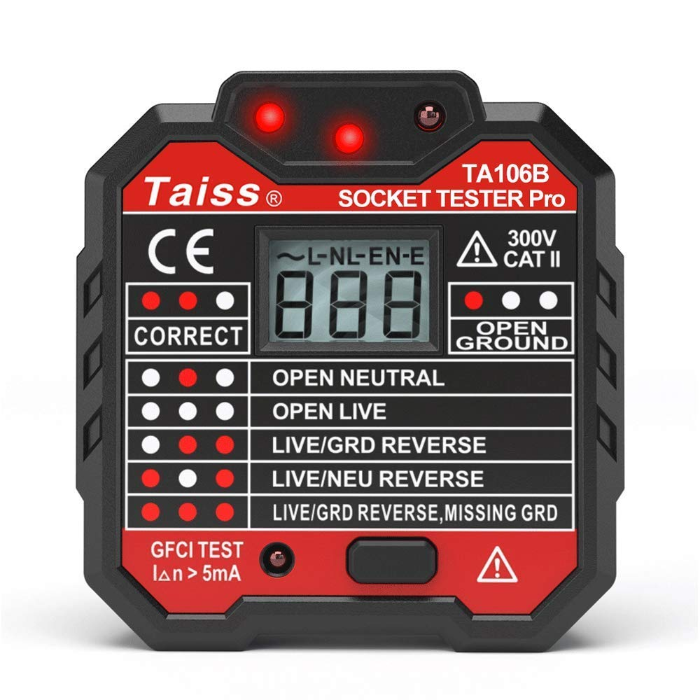 NEW Advanced With voltage display GFCI Outlet Tester 48-250V Power Socket Automatic Electric Circuit Polarity Voltage Detector Wall Plug Breaker Finder TA106B by Taiss