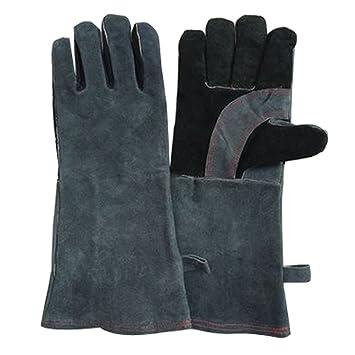 Guantes de soldadura, soldadores guantes guantes de diseño de alta temperatura Barbacoa Estufa largo Lined