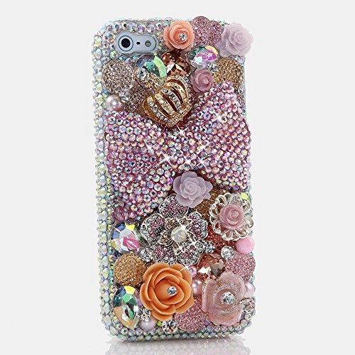 (iPhone 8/7 Case, Bling Genuine Baby Pink Crystals Bow with Gold Diamond Crown Orange Florals Sparkle Easy Grip Protective Case Cover [by Luxaddiction])