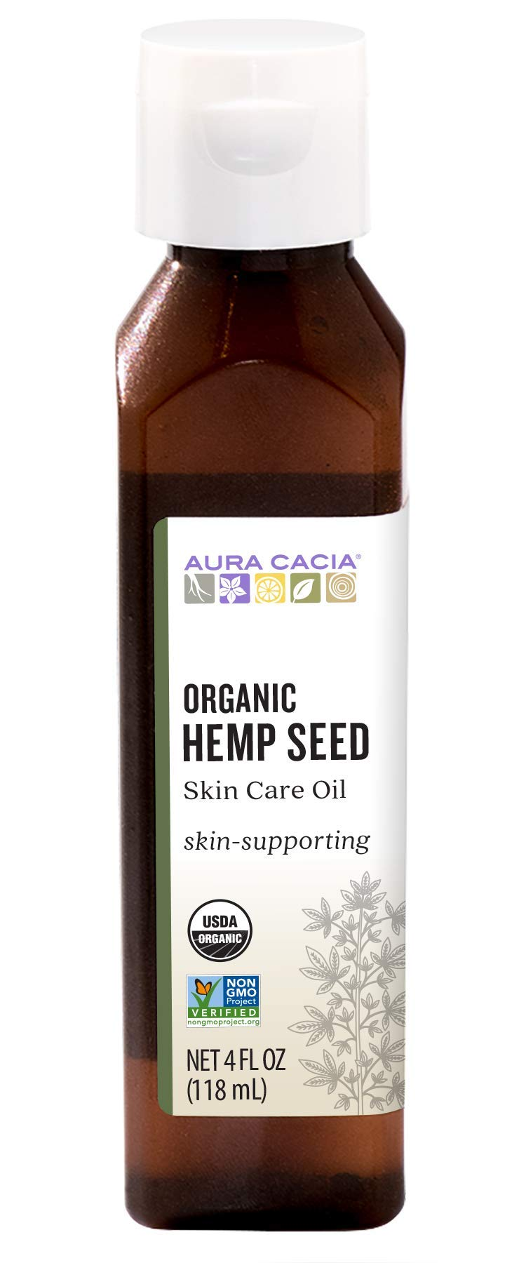 Aura Cacia Organic Hemp Seed Oil | GC/MS Tested for Purity | 118ml (4 fl. oz.)