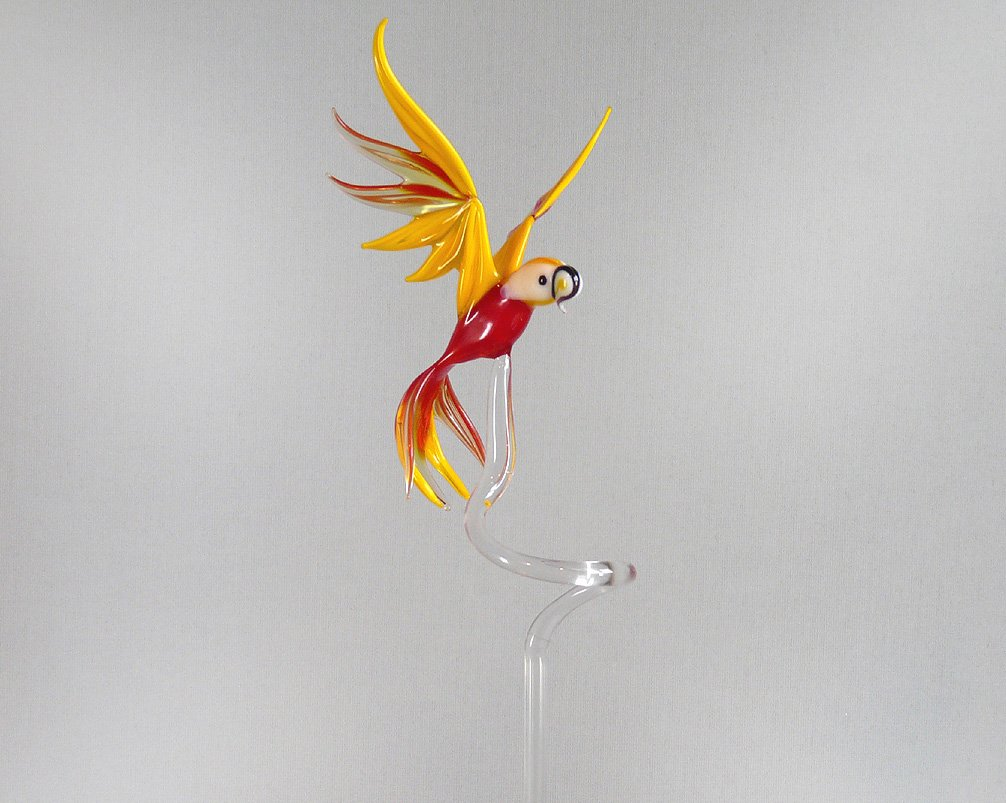 Orchid rod Orchid holder with large Parrot Yellow Red Orchid rods