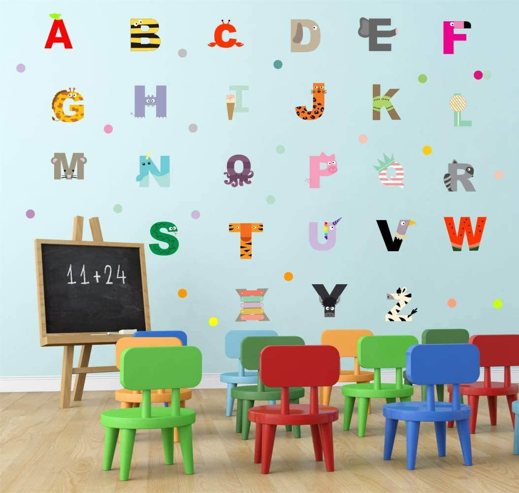 Adorable Animal Alphabet Wall Decal, Educational ABC Wall Sticker for Kids Bedroom Decoration, Lovely Letters Nursery Classroom Wall Art