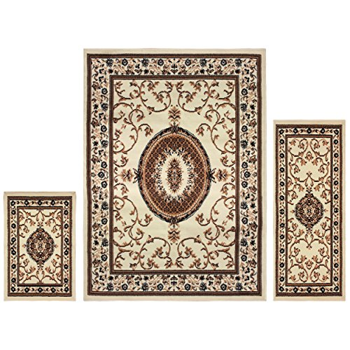 Superior Clementina Collection 3-Piece Rug Set, Attractive Rugs with Jute Backing, Durable and Beautiful Woven Structure, Elegant Medallion Area Rug Set - 2' x 3', 2' x 5', and 5' x 7' Rugs, Cream
