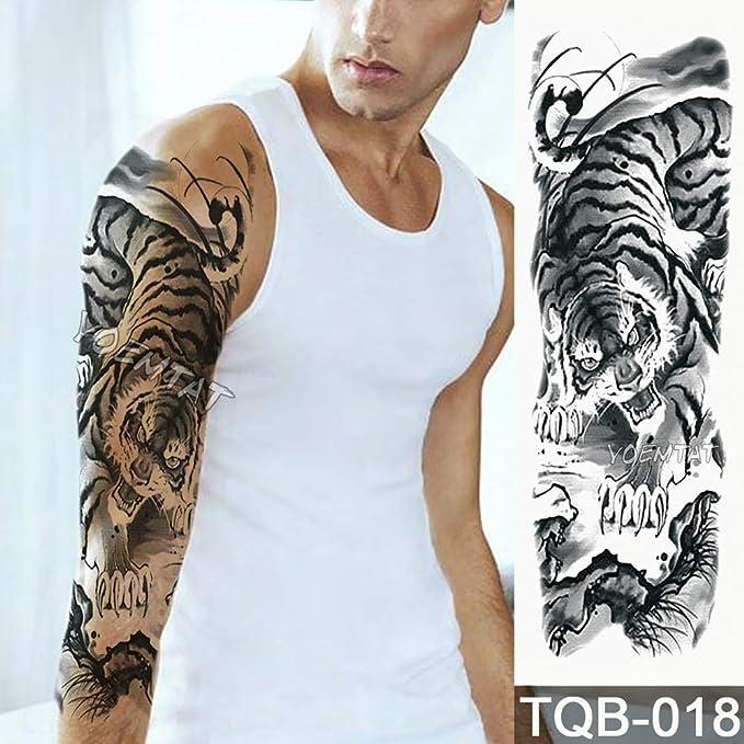 tzxdbh Gran Brazo Manga Tatuaje Cruz Rosa halo ángel Impermeable ...